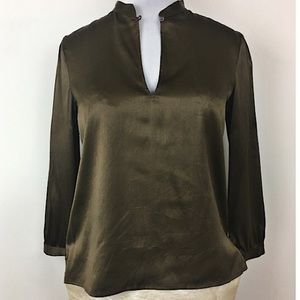 "Theory ""Aubrey"" crushed silk & spandex blouse"